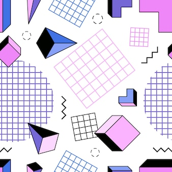 Seamless pattern with pink, blue and purple pyramids, cubes, other geometric shapes