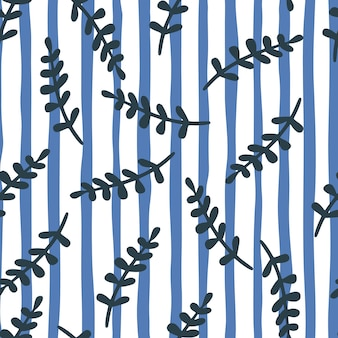 Бесшовные модели с розовыми ветвями. белые и синие полосы