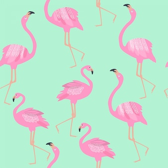 Seamless pattern with pink flamingo on blue background.