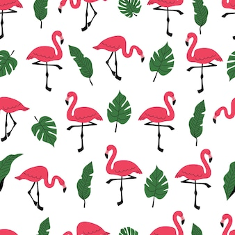 Seamless pattern with pink flamingo and palm leaves a pattern with exotic birds a banana leaf