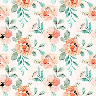 핑크 꽃과 녹색 잎 수채화와 완벽 한 패턴