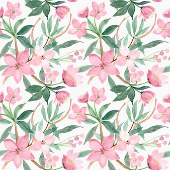 Seamless pattern with pink flower