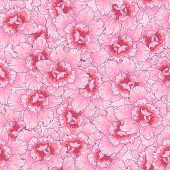 ピンクの花とのシームレスなパターン。印刷、ファブリック、テキスタイル、壁紙のテクスチャ。手描きのベクトル図です。ロマンチックなかわいいスタイル。