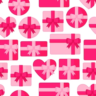 Seamless pattern with pink gift boxes of different shapes.