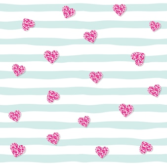 Seamless pattern with pink glitter confetti hearts on striped background.