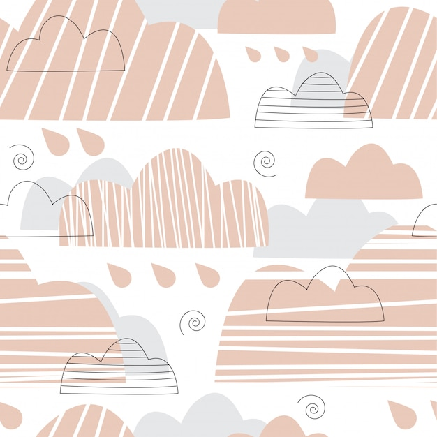 Seamless pattern with pink and gray clouds.