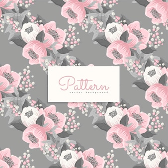 Seamless pattern with pink and grey flowers