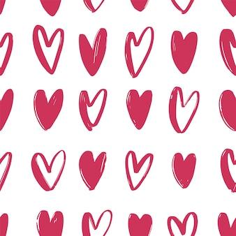 핑크 손으로 그린 하트와 완벽 한 패턴