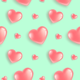Seamless pattern with pink heart-shaped balloons.