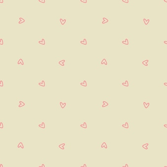 Seamless pattern with pink hearts on a beige background. vector illustration