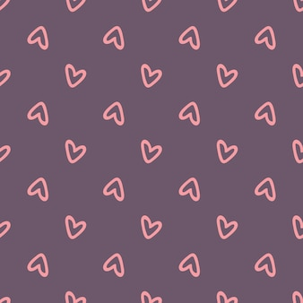 Seamless pattern with pink hearts on a purple background. vector illustration
