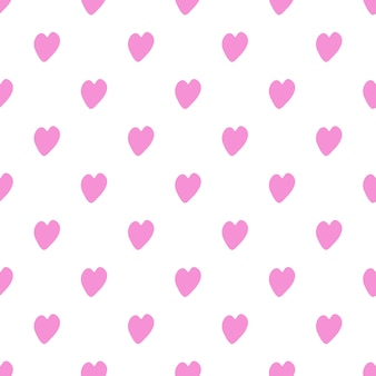 Seamless pattern with pink hearts on white background.