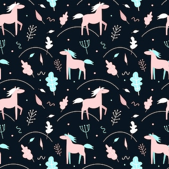 Seamless pattern with pink horses and plants on a dark background. scandinavian style.