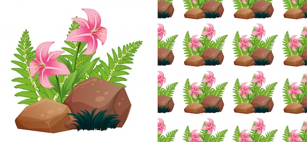 Seamless pattern with pink lily flowers on stones
