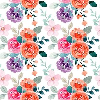 핑크 오렌지 장미 꽃 수채화와 완벽 한 패턴