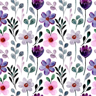 Seamless pattern with pink purple floral watercolor