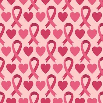 Бесшовный фон с розовой лентой - символ месяца осведомленности рака груди и сердца. фоновая текстура для медицинской концепции здравоохранения. международный день борьбы с раком груди.