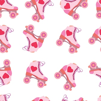 Seamless pattern with pink rollers quads valentines day love and heart