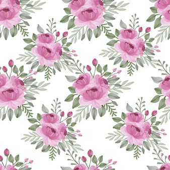 Seamless pattern with pink roses and leaves