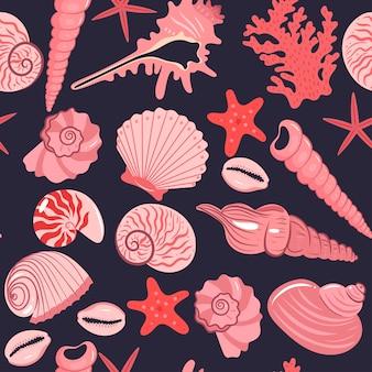 Бесшовный фон с розовыми морскими ракушками