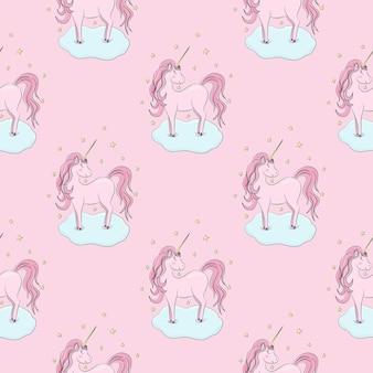 Бесшовный фон с розовыми единорогами облака звезд на розовом фоне