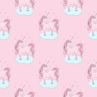 Seamless pattern with pink unicorns clouds stars on pink background