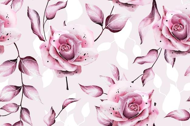 핑크 수채화 장미와 완벽 한 패턴