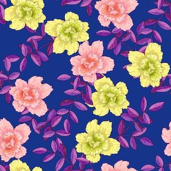 분홍색 노란색 꽃과 보라색 잎이 있는 가지가 있는 매끄러운 패턴입니다. 인쇄용 질감