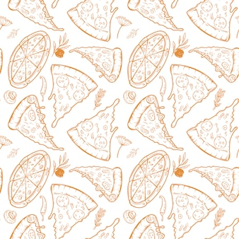 Seamless pattern with pizza, herbs, mushrooms, olives.  illustration