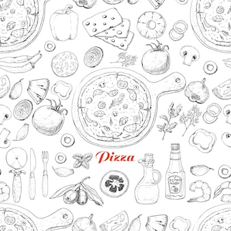Seamless pattern with pizza and various products
