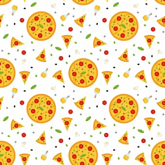 Seamless pattern with pizza, with slices of pizza and ingredients.