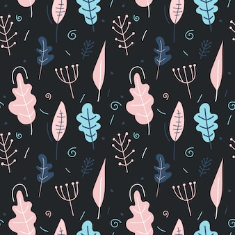 Seamless pattern with plants on a dark background.