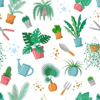 Seamless pattern with plants and garden tools flowerpots scissors fork trowel watering pot