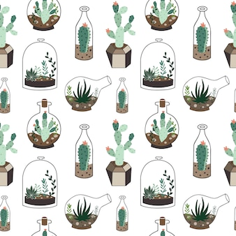 Seamless pattern with plants in terrarium.