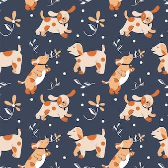 장난기 많은 개들과 함께 매끄러운 패턴, 어두운 배경에 있는 꽃들 사이에서 다른 포즈를 취하는 강아지들. 벡터 그래픽.