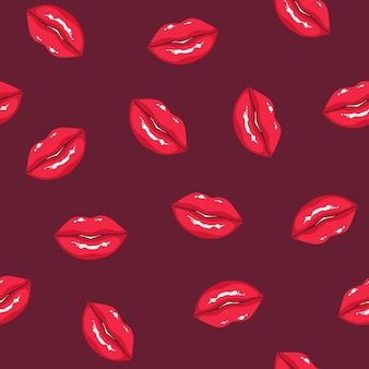 暗い背景にふっくらとした女性の唇とのシームレスなパターン。笑顔の女性の口と背景。愛と欲望のシンボルのテクスチャ。テキスタイルプリント、包装紙のベクトルイラスト。