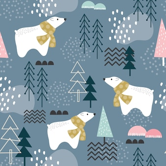 Seamless pattern with polar bear, forest elements and hand drawn shapes