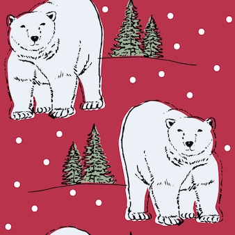 Seamless pattern with polar bear and winter landscape background