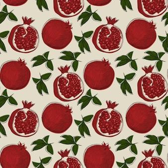 Бесшовный фон с плодами граната в стиле рисованной эскиз. может использоваться для этикеток, баннера, ткани, скатерти, подарочной упаковки или другого