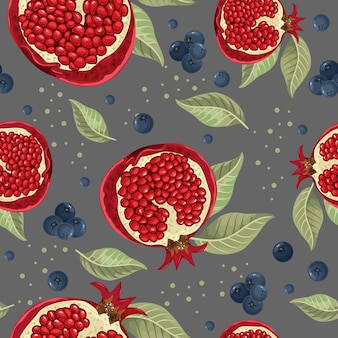 Seamless pattern with pomegranate and leaves