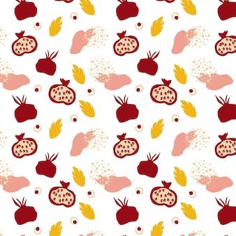석류와 함께 완벽 한 패턴입니다. 장식적인 현대적인 미적 패턴입니다. 잘 익은 석류와 흰색 배경에 나뭇잎. 벽지, 섬유, 현대 인쇄용 디자인. 벡터 손으로 그린 그림