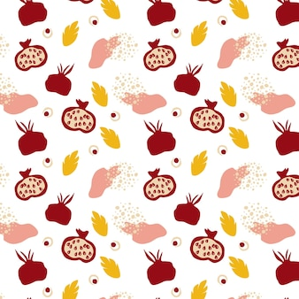 Seamless pattern with pomegranates. decorative modern aesthetic pattern. ripe pomegranate and leaves on white background. design for wallpaper, textile, modern print. vector hand drawn illustration