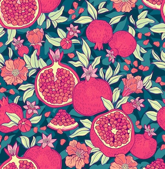 Seamless pattern with pomegranates. fruits background.