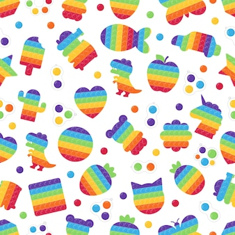 Seamless pattern with popit toys and simple dimple