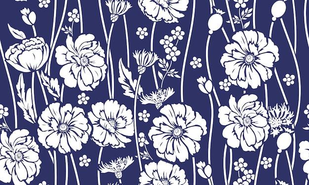 양귀비와 수레 국화와 함께 완벽 한 패턴입니다. 아름다운 여름 텍스타일 프린트의 디자인