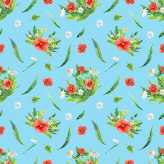 양귀비, 카모마일, 잎이 있는 매끄러운 패턴