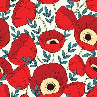 ポピーとのシームレスなパターン。花の背景