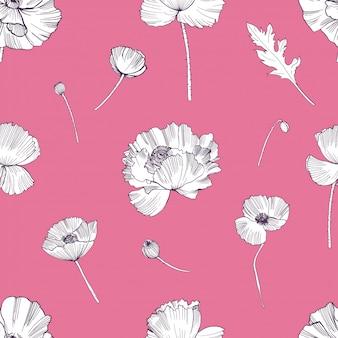 ケシの花とのシームレスなパターン。カラフルな手描きの背景。