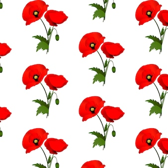 Seamless pattern with poppies flowers