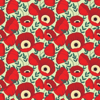 양 귀 비 꽃으로 완벽 한 패턴